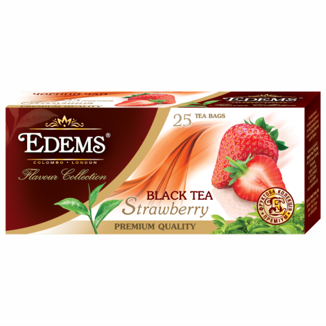 EDEMS STRAWBERRY FLAVORED BLACK TEA IN TEA BAGS